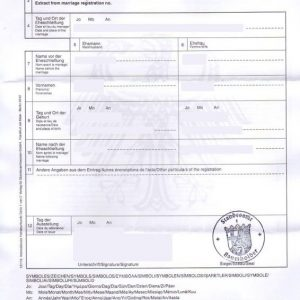 From Germany Marriage Certificate International Form