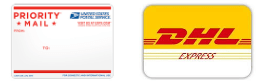 Delivery by DHL Express or register mail
